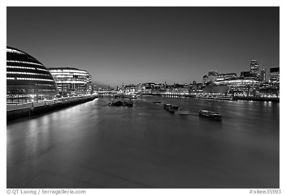 River Thames and skyline at night. London, England, United Kingdom (black and white)