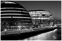 City Hall, designed by Norman Foster,  at night. London, England, United Kingdom (black and white)