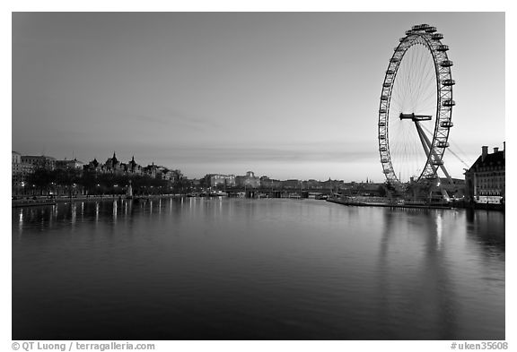 Black and white picture photo thames river and millennium wheel at dawn london england united kingdom