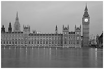Palace of Westminster at dawn. London, England, United Kingdom ( black and white)