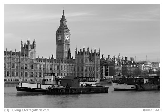 Black And White Boats Houses Of Parliament Early Morning London England United Kingdom