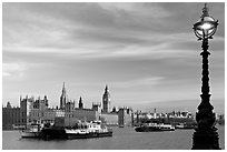 Lamp, Thames River, and Westminster Palace. London, England, United Kingdom (black and white)