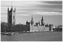 Victoria Tower and palace of Westminster. London, England, United Kingdom ( black and white)