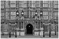 Gothic facade of Westminster Palace. London, England, United Kingdom ( black and white)
