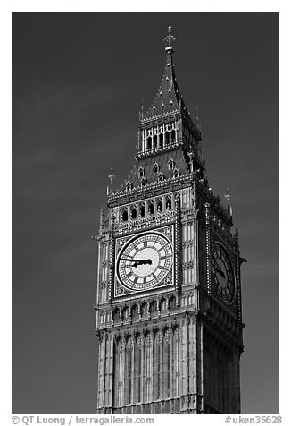 Big Ben, the clock tower of the Westminster Palace. London, England, United Kingdom (black and white)