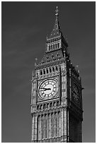 Big Ben, the clock tower of the Westminster Palace. London, England, United Kingdom ( black and white)