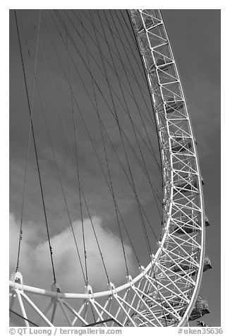 Detail of the London Eye. London, England, United Kingdom (black and white)