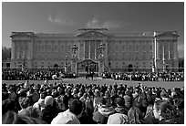 Crowds during  the changing of the guard in front of Buckingham Palace. London, England, United Kingdom ( black and white)