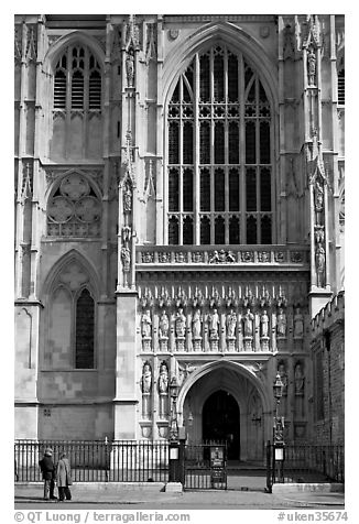 Facade and entrance to the Collegiate Church of St Peter, Westminster. London, England, United Kingdom (black and white)