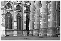 Buttresses and windows, Westminster Abbey. London, England, United Kingdom (black and white)