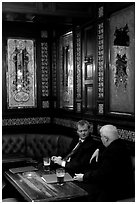 Business men talking over a beer, Victorian boozer Princess Louise. London, England, United Kingdom ( black and white)