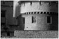Detail of turret and wall, Tower of London. London, England, United Kingdom ( black and white)