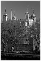Tower of London, morning. London, England, United Kingdom ( black and white)