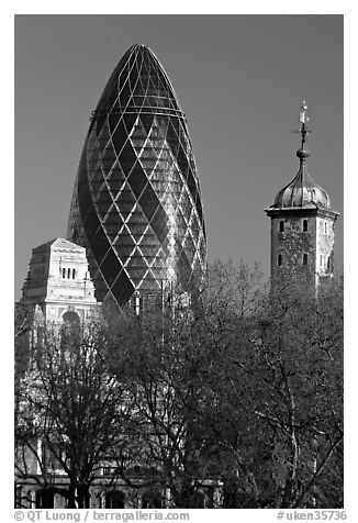 Swiss Re Tower (also known as 30 St Mary Axe, or The Gherkin), designed by Norman Foster. London, England, United Kingdom (black and white)