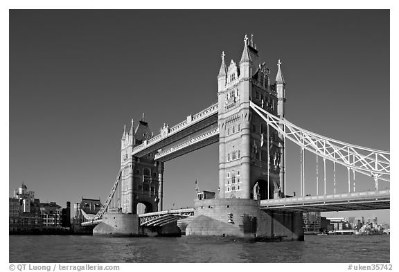 Tower Bridge at river level, morning. London, England, United Kingdom