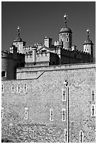 Outer rampart and White Tower, Tower of London. London, England, United Kingdom (black and white)