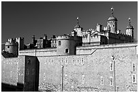 Outer wall and White Tower, Tower of London. London, England, United Kingdom (black and white)