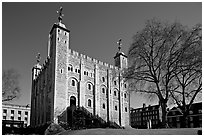 White Tower and tree, the Tower of London. London, England, United Kingdom (black and white)