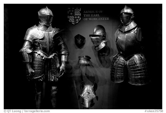 Armour of the Earl of Worcester on display in the White House, Tower of London. London, England, United Kingdom (black and white)