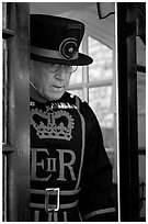 Yeoman Warder (Beefeater), Tower of London. London, England, United Kingdom ( black and white)