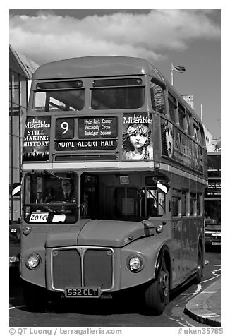 Routemaster double decker bus. London, England, United Kingdom (black and white)