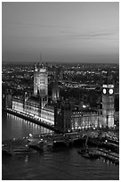 Aerial view of Westminster Palace from the London Eye at sunset. London, England, United Kingdom ( black and white)