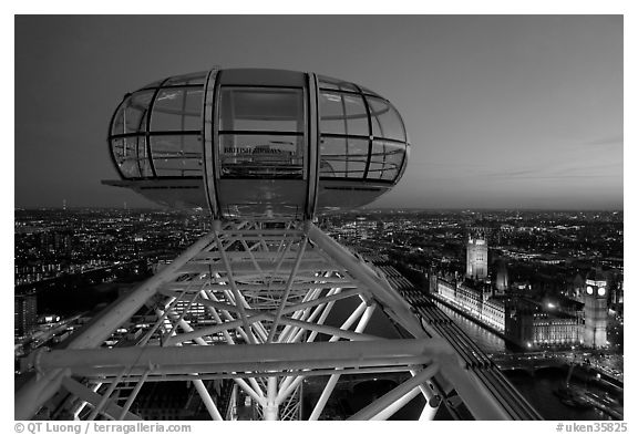 Millenium Wheel capsule and Houses of Parliament at dusk. London, England, United Kingdom (black and white)