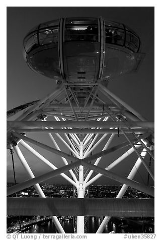 Millenium Wheel capsule at night. London, England, United Kingdom (black and white)