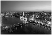 Aerial view of Thames River, Westmister Bridge and Palace at dusk. London, England, United Kingdom ( black and white)