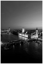 Aerial view of Thames River and Houses of Parliament at dusk. London, England, United Kingdom (black and white)