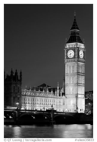 Black and white picture photo big ben and westminster bridge at night london england united kingdom