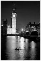 Big Ben reflected in Thames River at night. London, England, United Kingdom ( black and white)