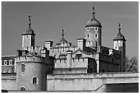 Turrets and White House, Tower of London. London, England, United Kingdom ( black and white)