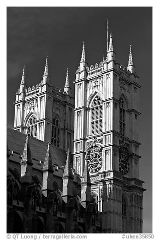 Towers of Westminster Abbey. London, England, United Kingdom (black and white)