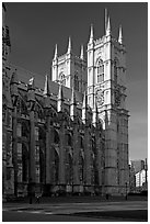 Westminster Abbey from the side, morning. London, England, United Kingdom (black and white)