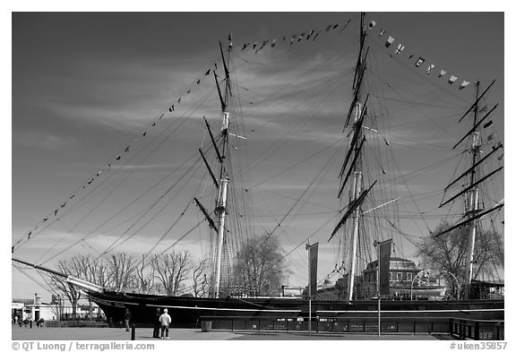 Cutty Sark in her dry dock. Greenwich, London, England, United Kingdom (black and white)