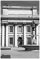 Classical facade in Old Royal Naval College. Greenwich, London, England, United Kingdom (black and white)