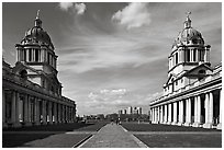 Symetrical domes of the Old Royal Naval College, designed by Christopher Wren. Greenwich, London, England, United Kingdom (black and white)