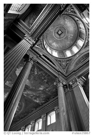Columns and entrance of Painted Hall of Greenwich Hospital. Greenwich, London, England, United Kingdom (black and white)