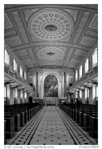 Chapel, Old Royal Naval College. Greenwich, London, England, United Kingdom (black and white)