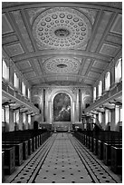 Chapel, Old Royal Naval College. Greenwich, London, England, United Kingdom ( black and white)