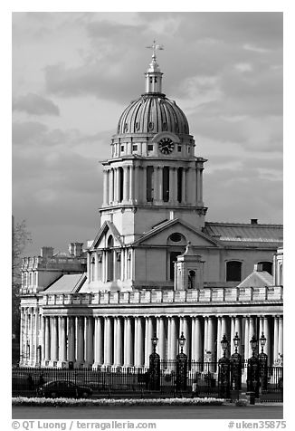 Dome of the Old Royal Naval College. Greenwich, London, England, United Kingdom (black and white)