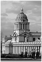 Dome of the Old Royal Naval College. Greenwich, London, England, United Kingdom ( black and white)