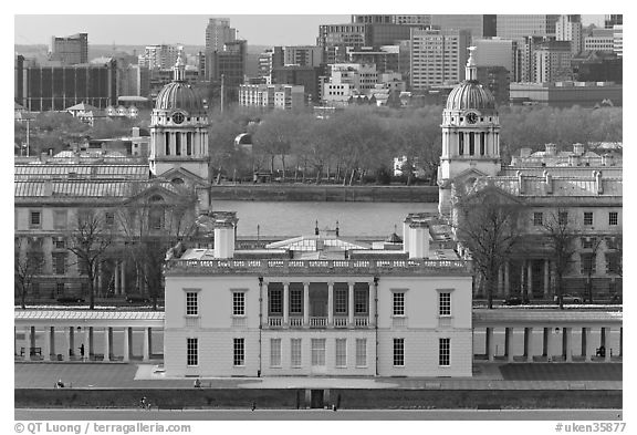 Queen's House, Greenwich Old Royal Naval College, and Thames River. Greenwich, London, England, United Kingdom (black and white)