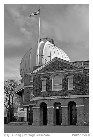 Royal Greenwich Observatory, late afternoon. Greenwich, London, England, United Kingdom (black and white)
