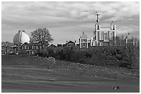 Greenwich Park and Royal Observatory, late afternoon. Greenwich, London, England, United Kingdom (black and white)