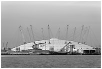 Millenium Dome at sunset. Greenwich, London, England, United Kingdom ( black and white)