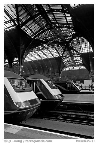 Trains in Paddington Railway station. London, England, United Kingdom (black and white)