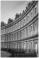Indentical curved facades with three orders of architecture on each floor, the Royal Circus. Bath, Somerset, England, United Kingdom ( black and white)