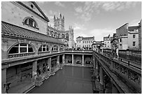 Pool of the Roman Bath, colored by green algae because of the loss of original roof. Bath, Somerset, England, United Kingdom (black and white)